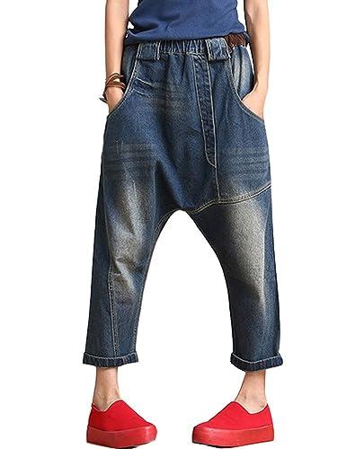 Youlee Donne Elastico in Vita Denim Jeans A Vita Alta Capri Pantaloni Blu