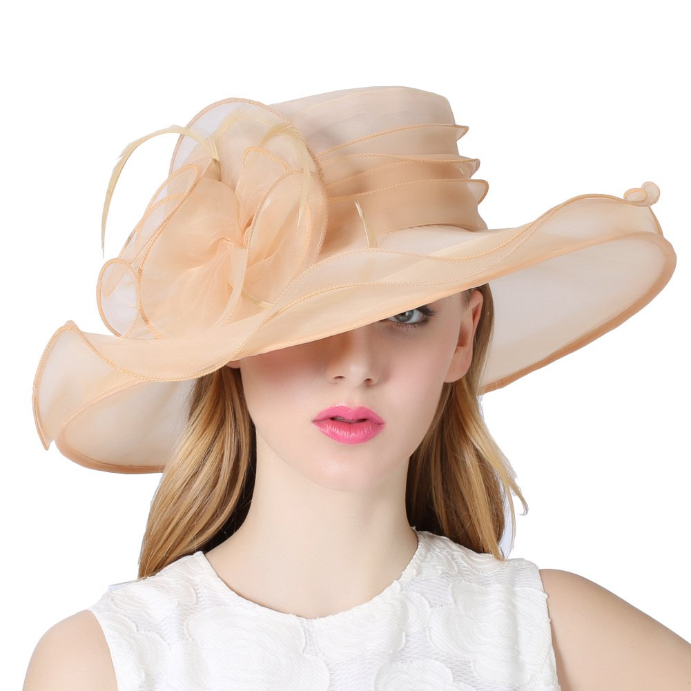 f0cc6e6148b June s Young Women Lady Hat for Church Kentucky Derby Tea Party Wedding  Sandy Beige at Amazon Women s Clothing store