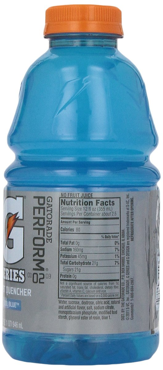 Amazon.com : Gatorade Sports Drink, Cool Blue, 32-Ounce Bottles (Pack of 12) : Gatorade Cool Blue Cherry : Grocery & Gourmet Food