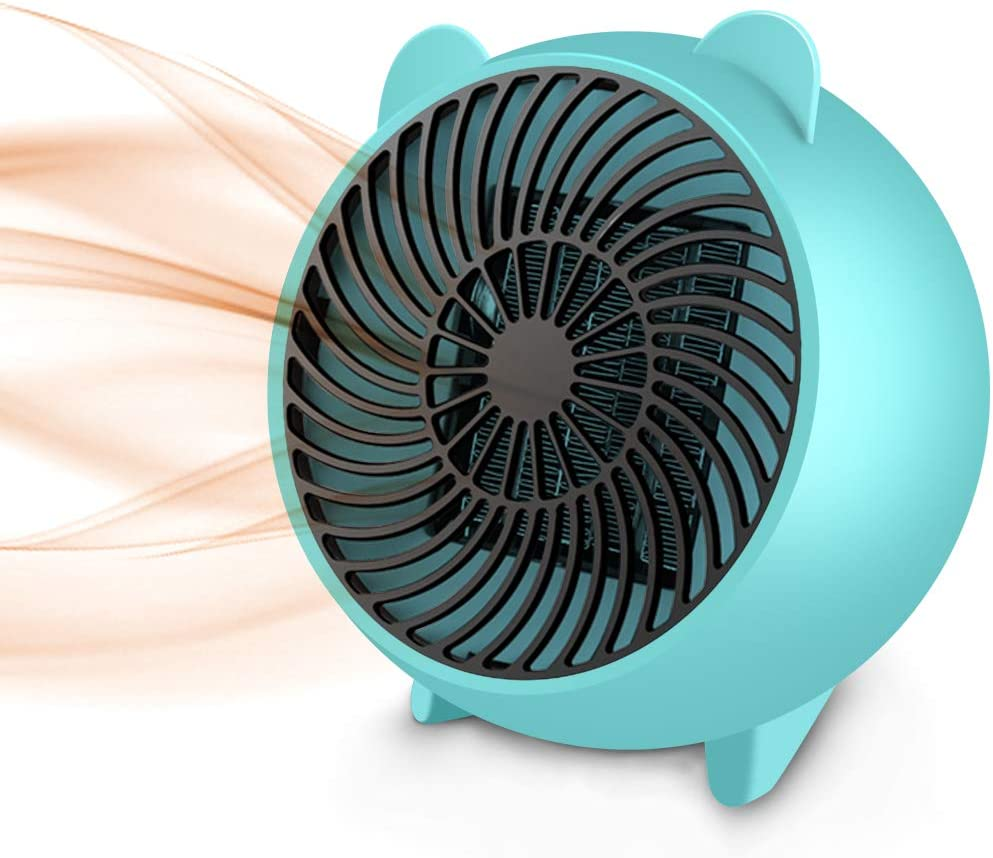 Space Heater, Fan Heater,Personal Mini Space Heater Portable Electric Heaters Fan with PTC Ceramic Heating Element & Overheat Protection for Office, Home, Tabletop Under Desk Floor Indoor (Light Blue)