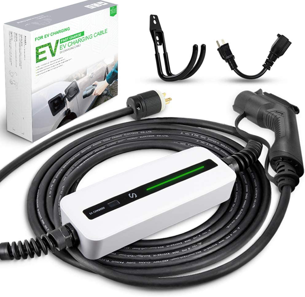 Morec EV Charger 16A 3.68KW NEMA6-20 Plug with Adapter for NEMA 5-15, 100V-240V 8m (26 feet) Level 1 Level 2 Electric Vehicle charging cable Compatible with All EV Cars