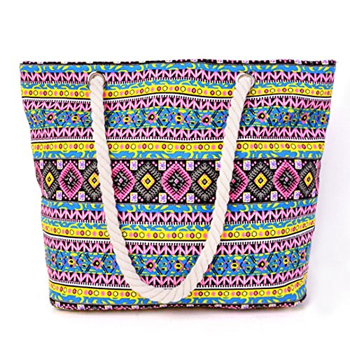 Bag Bag Millya Travel Shoulder 13 Bag Shopping Holiday Multicolor02 Canvas Oversized 5 Beach Inch Tote 44RwOqf