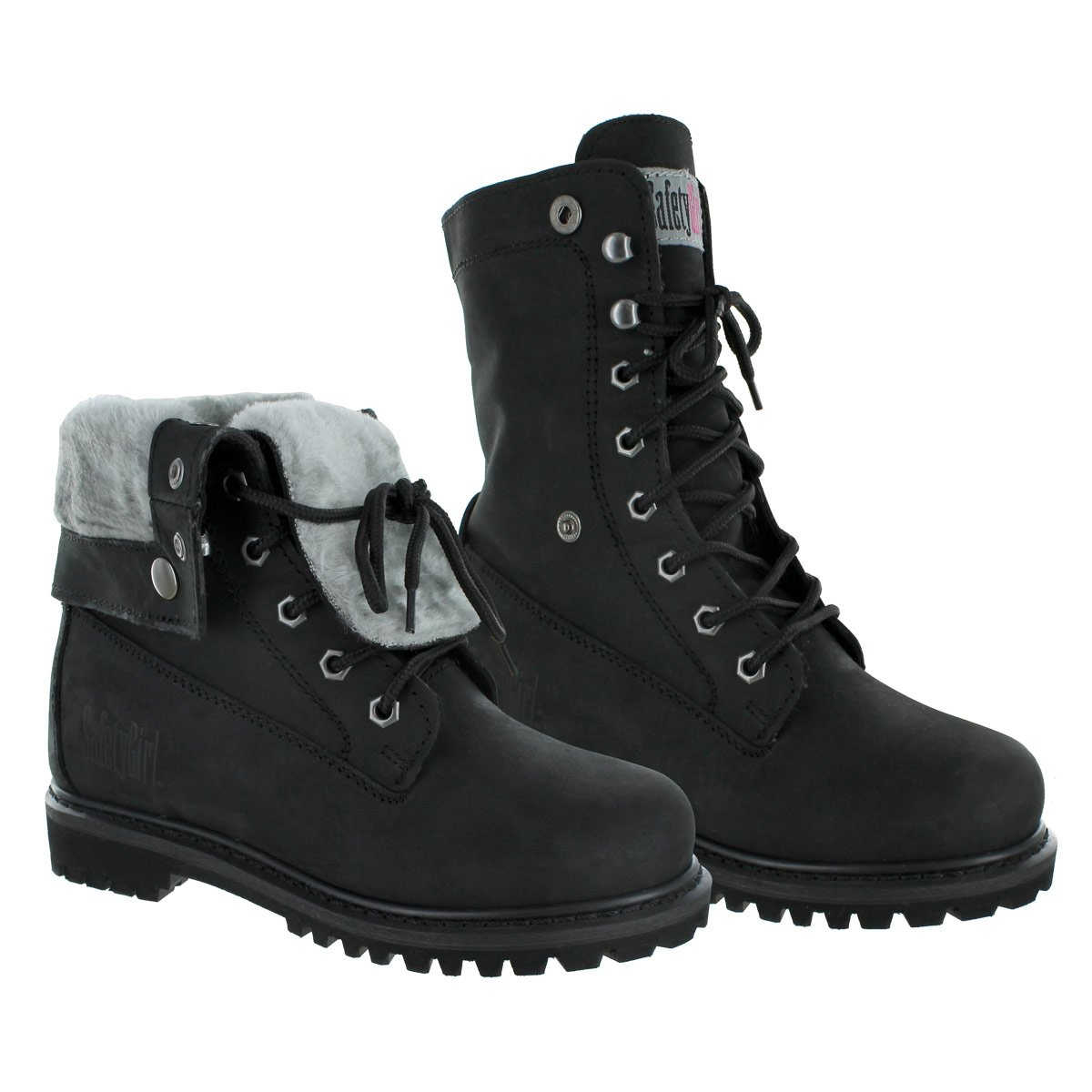 Safety Girl GS008-BLK-ST-8M Madison Fold-Down Work Boot - Black Steel Toe 8M, English, Capacity, Volume, Leather, 8M, Black ()