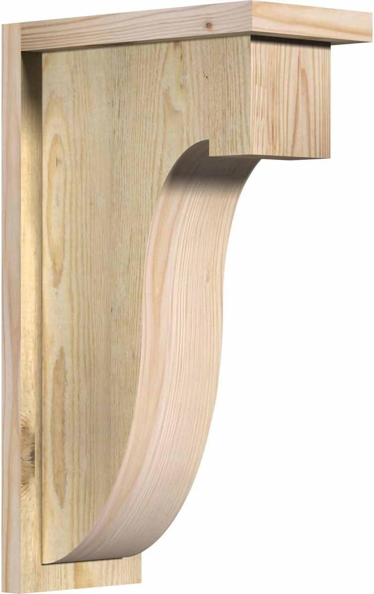 5 1//2 Width x 8 Depth x 8 Height Ekena Millwork COR06X08X08DEL01SDF Del Monte Smooth Corbel with Backplate Douglas Fir