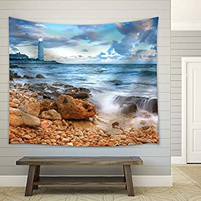 Lighthouse on The Seaside - Fabric Tapestry, Home Decor - 51x60 inches