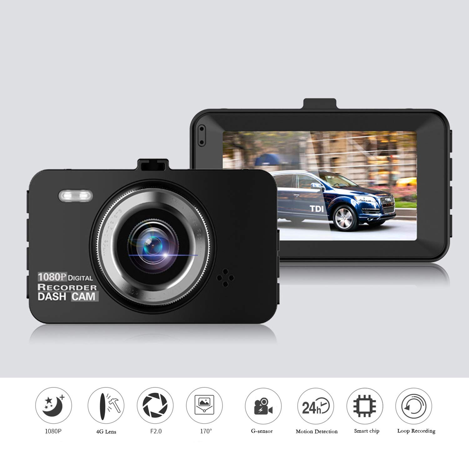 Dash Cam 1080P FHD Night Vision Car DVR Dashboard Camera Recorder with 3 IPS Screen, 170 Wide Angle, G-Sensor, WDR, Loop Recording and Motion Function