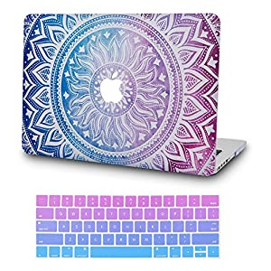 KEC MacBook Air 13 Inch Case with Keyboard Cover Plastic Hard Shell Rubberized A1369 / A1466 (Purple Medallion)