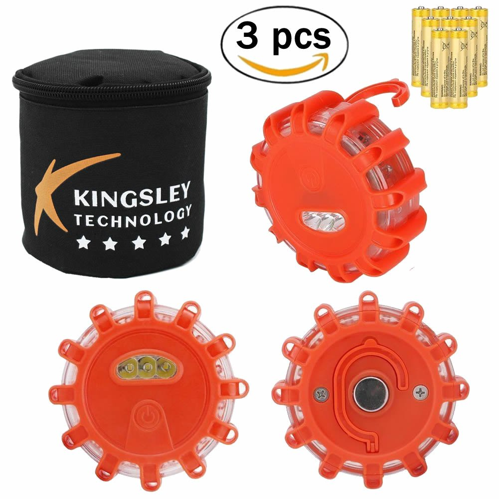 Kingsley Road Flares Kit for Emergency - Hazard Disc Roadside LED with Warning - Safety Flare Light Flashing Beacon for Automotive, Industrial, Marine and Hiking with Container Bag (Pack of 3)