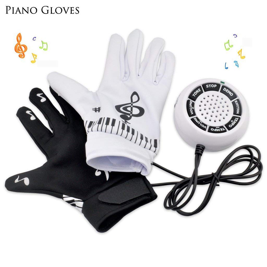 PinPle Music Electronic Piano Gloves Exercise Instrument Keyboard Musical Fingertips for You to Play Piano Music On Desk