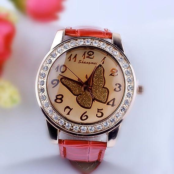 Belleza regalo hermosa mariposa patrón mujeres casual reloj mujer para vestido de mujer de piel sintética