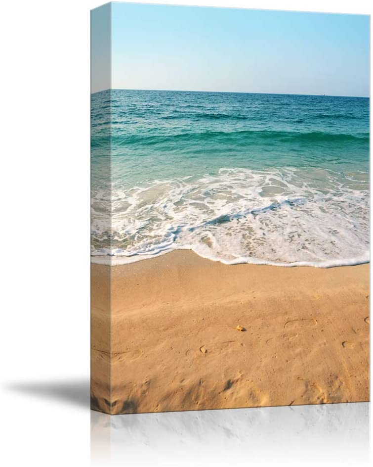 NWT Canvas Wall Art Sand Beach Blue Ocean Painting Artwork for Home Prints Framed - 24x36 inches