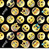 Emoji Fabric By the Yard Emojis Black Anti-Pill Fleece Fabric By The Yard