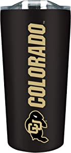 University of Colorado Boulder 18 oz Stainless Steel Double Walled Beverage Tumbler w/ Open & Close Lid - College Gear for PAC 12 - For Office, Home or Auto - Show Your CU Boulder Pride