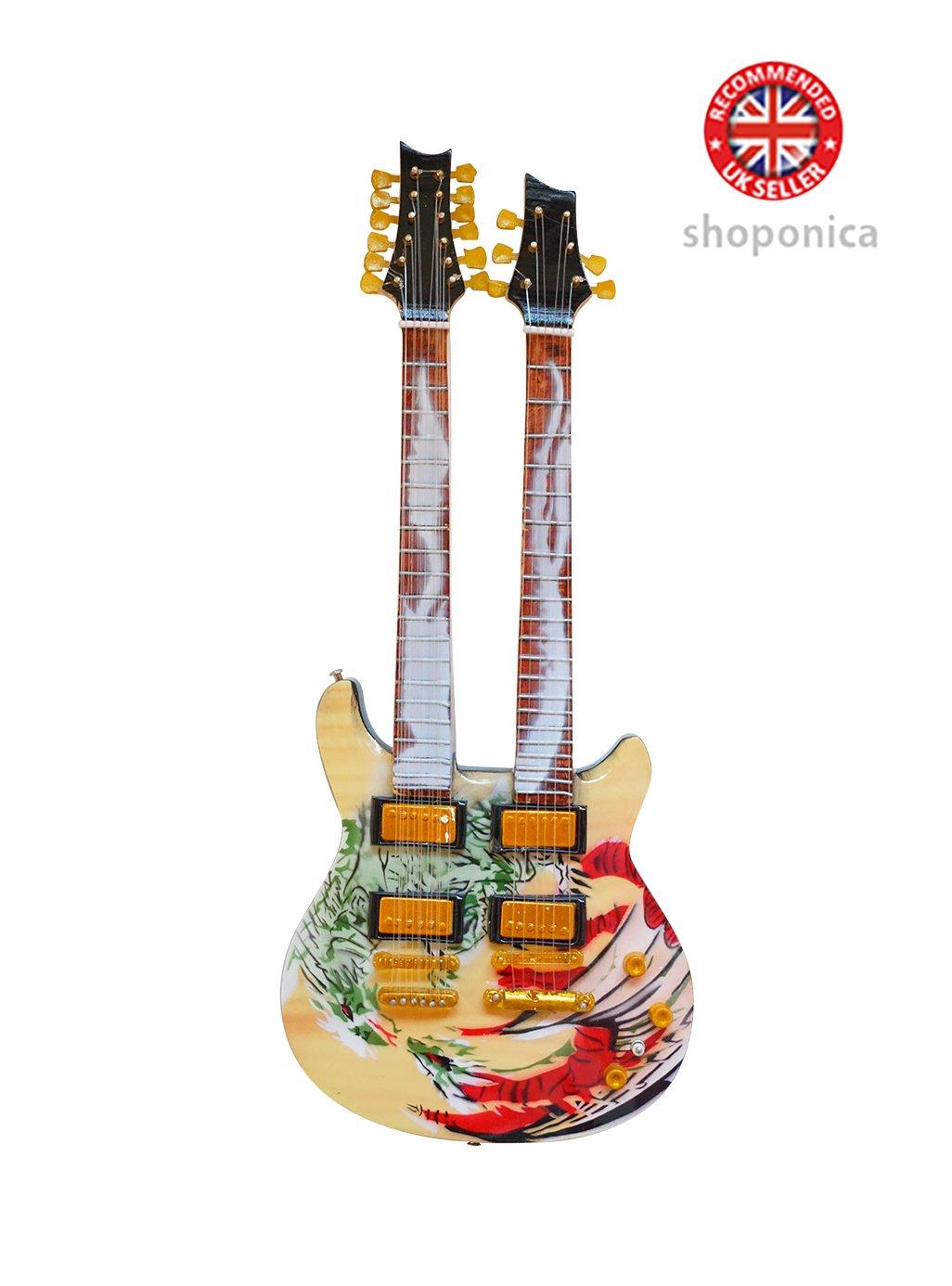 Carlos Santana Doppelter Hals Drachen Signature Holz Miniatur-Gitarre Music Legends