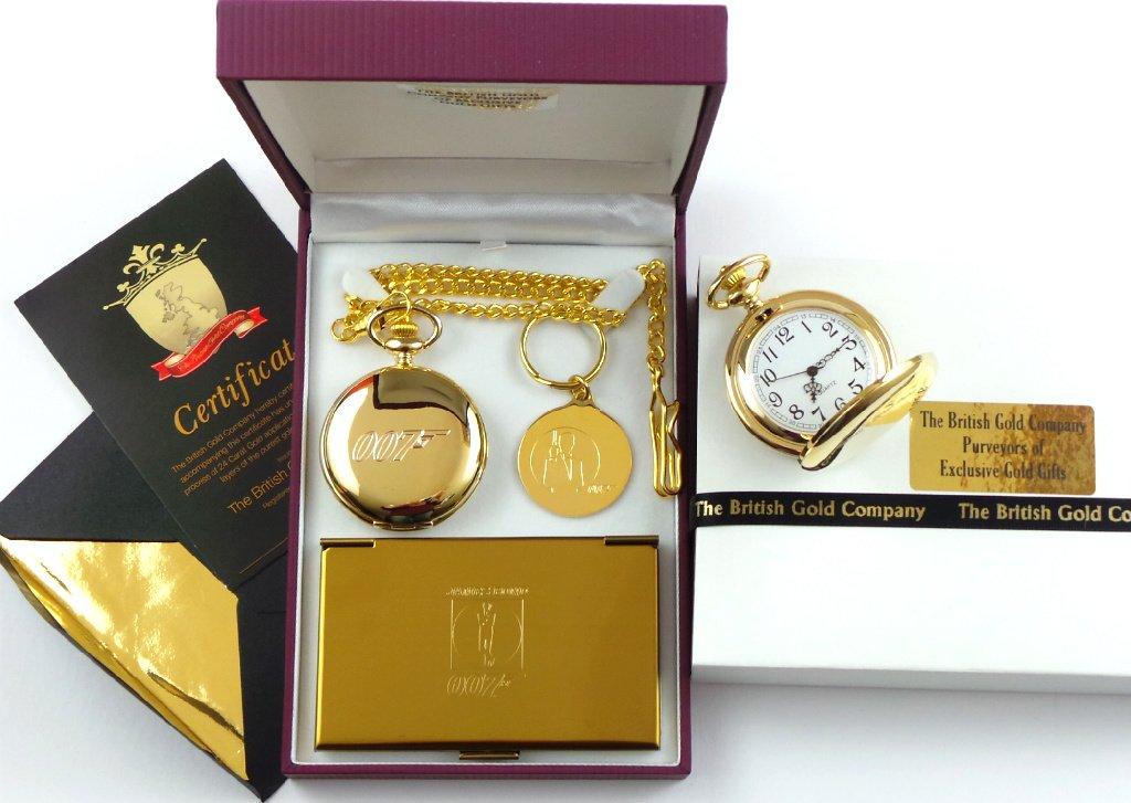 Amazon.com: 24K Gold Clad James Bond 007 Pocket Watch Keyring And ...