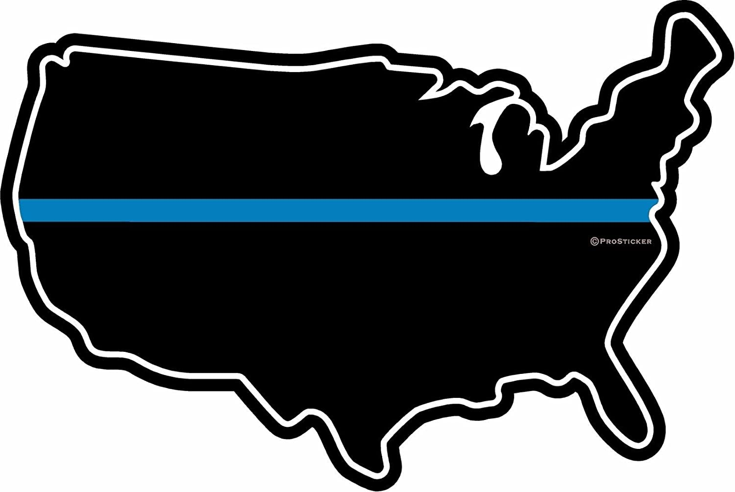"ProSticker 1100 One 4/"" Support Our Police Blue Line Shield Eagle Decal"