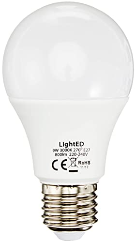 LightED Bombilla LED, 3000 K E27, 9 W, Blanco, 60 x 108