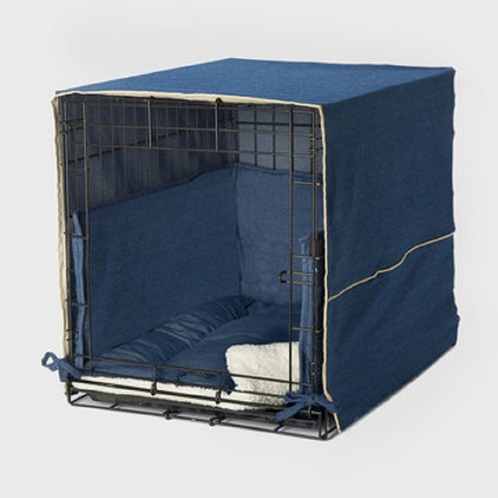 Denim bluee 36InchPet Dreams The Original Crate Cover, Crate PAD and Bumper JUST GOT Better New Double Door 3 Piece Crate Bedding Set. Medium Fits 30  Midwest Crate  Coco Brown