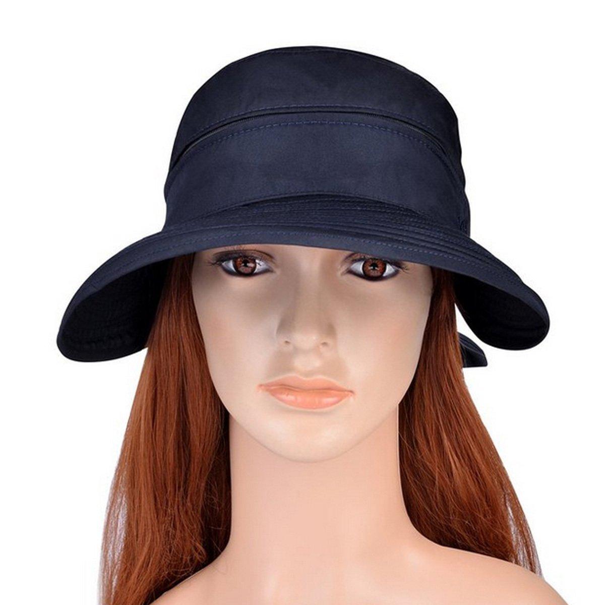 LA HAUTE Women Bowknot Sun Hat Wide Large Brim Visor Hat Cap Summer Beach Hat Color Blue