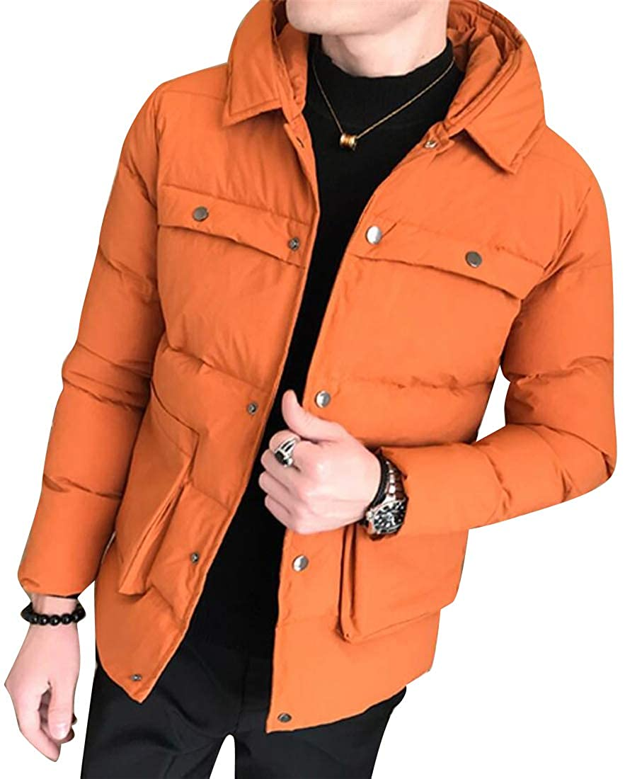 Mstyle Men Winter Warm Hoodie Solid Zip Front Casual Quilted Down Coat