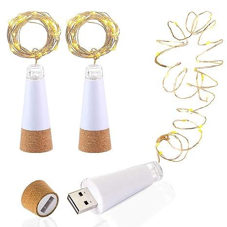 LED Botella corcho Luces, Alimentado por USB Recargable, 1.9m Alambre de cobre con
