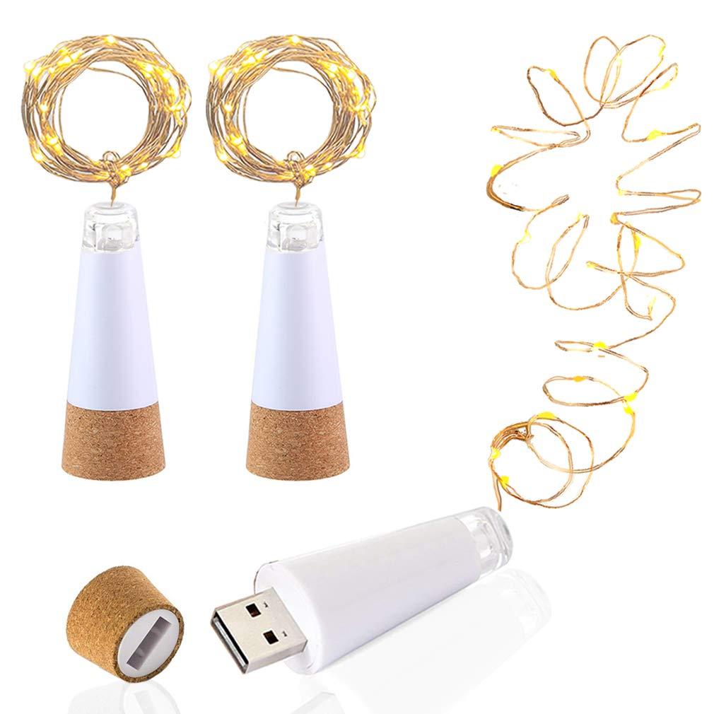 GCUnit LED Wine Bottle Lights, USB Rechargeable, 6.2ft 20 Lights, Copper Wire String LED Cork Lights for DIY, Home Kitchen, Wedding, Halloween, Christmas, Party Bottle Decoration (Warm White, 3 Pcs)