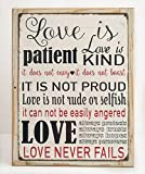 Love is Patient Metal Sign, Framed on Rustic Wood, Inspirational, Prayer, Family, Love, Marriage, Scripture Review