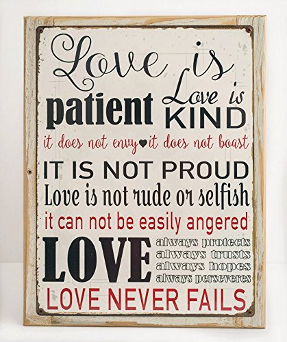 Love is Patient Metal Sign, Framed on Rustic Wood, Inspirational, Prayer, Family, Love, Marriage, Scripture (Prayer Sign)