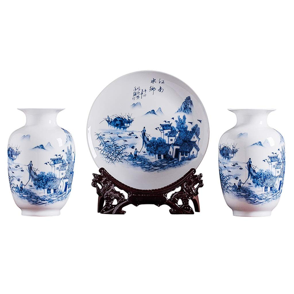 陶芸小花瓶三枚飾り中国風リビングルームフラワーアレンジメントホームテレビキャビネット飾り工芸品 HUXIUPING B07T3YSFTS