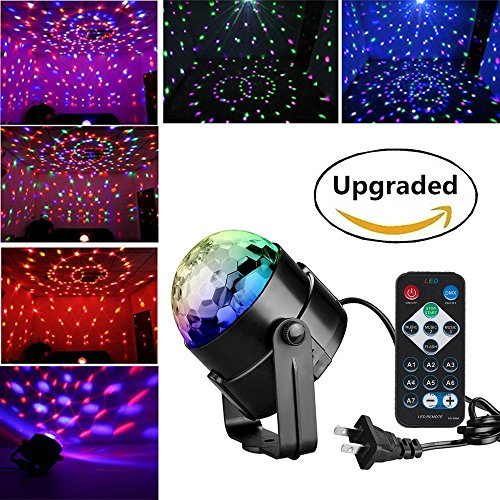 LED Disco Ball Party Lights - Renoliss Remote Control Disco Lights Karaoke Machine 3W Dj Light LED Portable 7Colors Sound Activated Stage Lights for Festival Home Bar Club Party Outdoor -