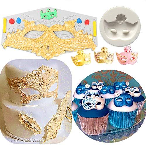 SAKOLLA Mask Cake Fondant Molds, Masks Silicone Mold for Cake Decorating, Cupcake Topper Decorating,Polymer Clay,Candy,Sugarcraft - Set of 2