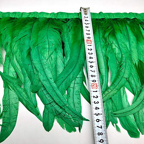 Green rooster feather trim