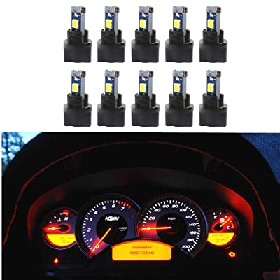 WLJH 10 Pack White Canbus T5 Led Bulb 2721 37 74 Wedge Lamp PC74 Twist Sockets Dash Dashboard Lights Instrument Panel Cluster Leds Car Replacement: Automotive
