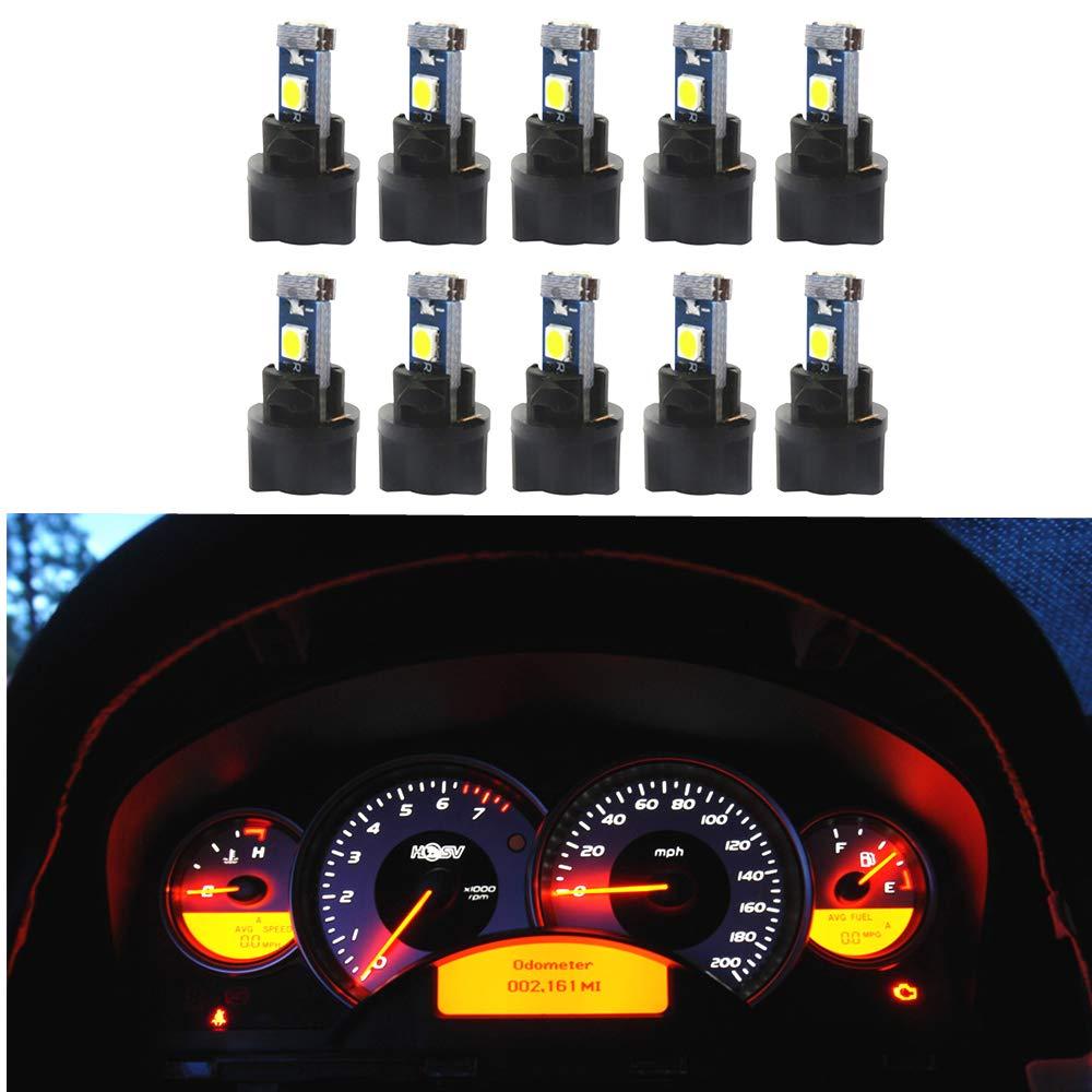 Car Electronics & Accessories 10pcs T5 Car Instrument Light Lamp Led Bulb Auto PC74 SMD 5050 Car LED Twist Socket Instrument Panel Dash Light Bulb White Car Electronics & Accessories