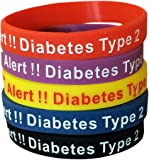 Type 2 Diabetes Bracelets Silicone Medical Alert Wristbands(Pack of 5) Blue, Yellow, Red, Black, Purple