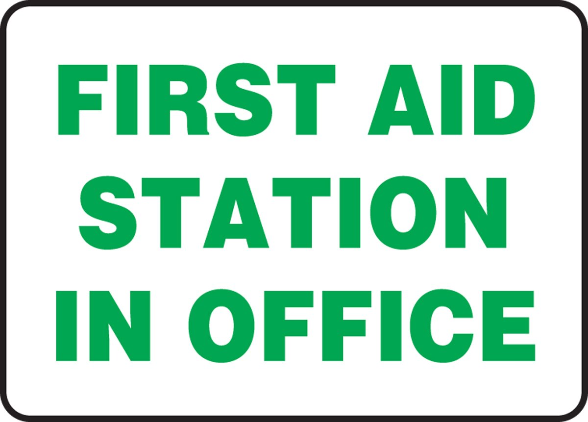 14 Length x 10 Width x 0.006 Thickness Accuform MFSD965XV Adhesive Dura-Vinyl Sign LegendEMERGENCY FIRST AID STATION Black//Green on White