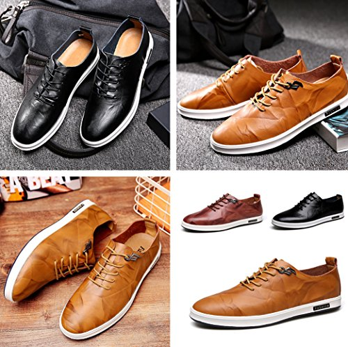 Casual Dress Shoes Comfy Shoes Gaorui Formal Soft Flat Brown Driving Slip Leather Moccasins Walking Men Loafers On UgxRxqpw
