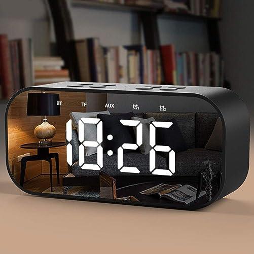 KLJKUJ Alarm Clock Radio with Wireless Bluetooth Speaker FM Radio Night Light Home Bedroom Kitchen Office Kids Pink