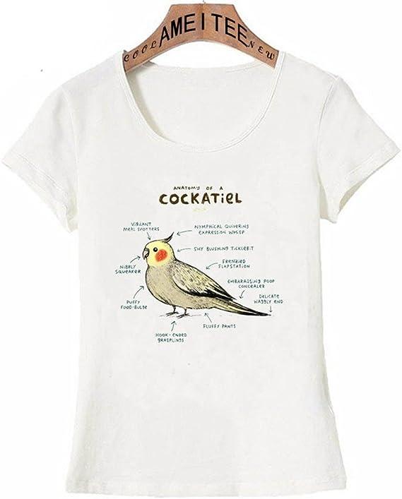 HASHIT Anatomía De Una Camiseta con Estampado De Tatuajes Cockatiel Camiseta De Verano con Estampados De Mujeres Camisetas Informales De La Novedad Camisetas Divertidas con Diseños De Aves, XL: Amazon.es: Ropa y