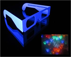 Rainbow Hearts Fireworks Diffraction Glasses - Plain White Paper Frames -10 Glasses - See Heart Halos around Points of Light for Weddings, Fireworks, Holiday Lights, City Lights!