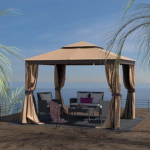 Finefind 10×12 Gazebo Canopy Soft Top Outdoor Gazebo Tent 2-Tier Curtain Double Roof Vented Gazebo