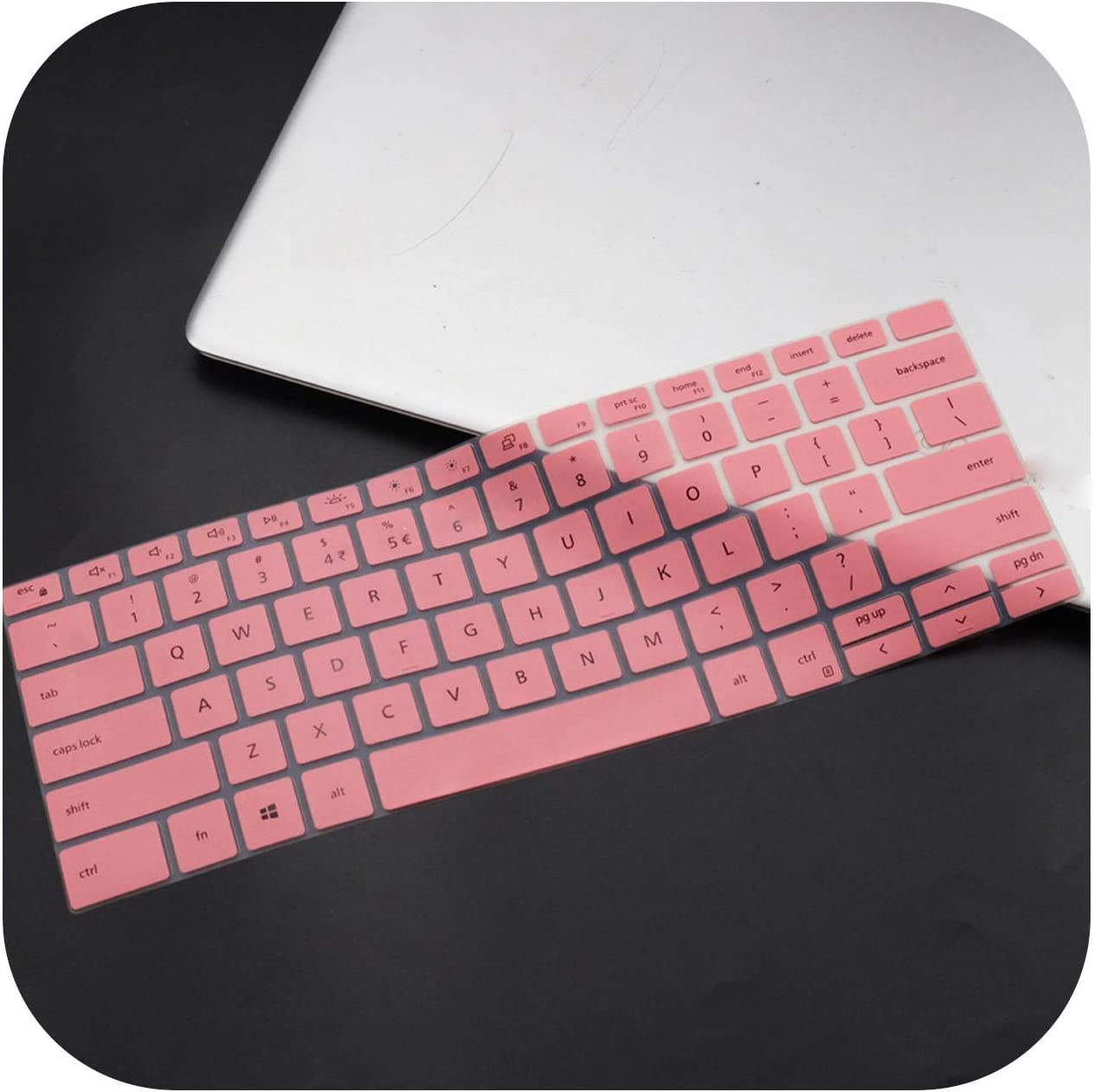 Silicone Notebook Laptop Keyboard Cover Skin for Dell Xps 13 9300 7390 2020 / Xps 15 9500 2020 / Xps 17 9700 2020-Pink-