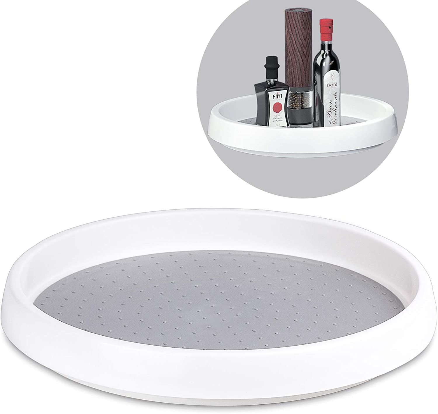 Lazy Susan, McoMce Lazy Susan Turntable, Glides Easily Lazy Susan Cabinet Organizer for Kitchen Pantry, Cabinet, Countertops, 360-Degree Turntable, 9-Inch Revolving Food Server, Gray