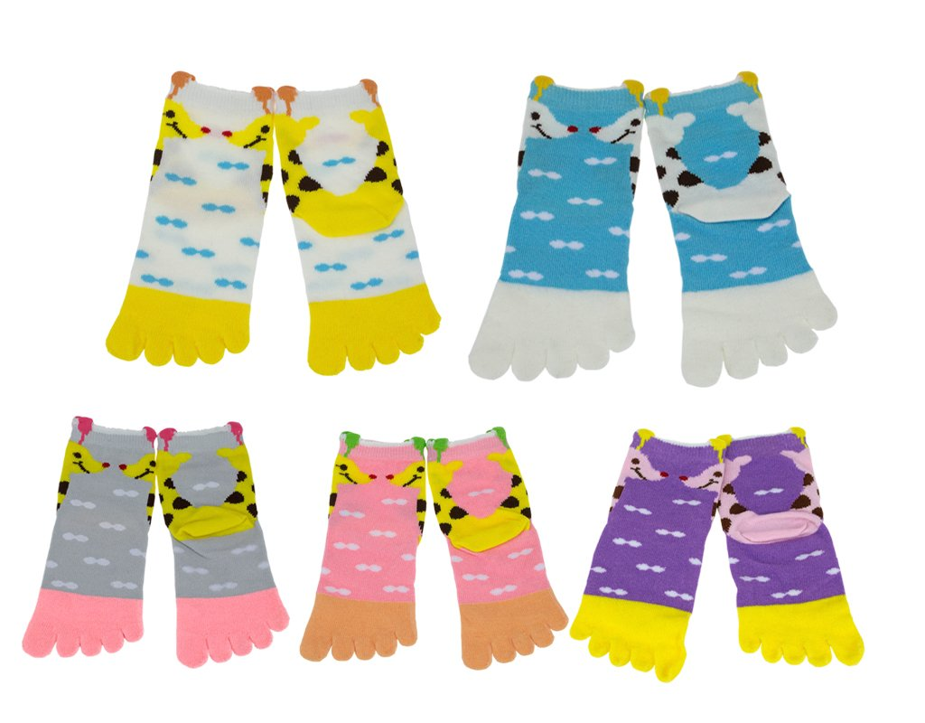 BONAMART 1, 4 or 5 Pack Kids Girls Boys Split 5 Toes Toe Socks 1-3 Years Old by Bonamart