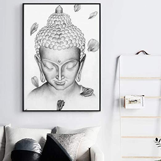 XuFan Meditación Arco Estatua de Buda Lienzo Pintura Negro ...