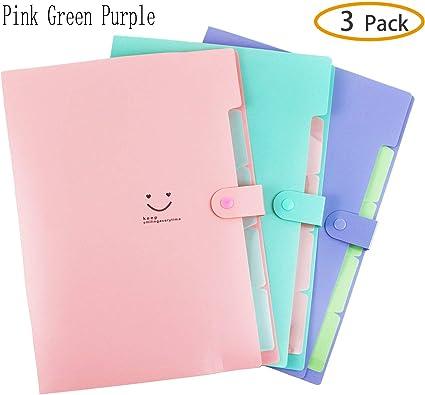Cartelle espandibili per file ufficio Organizer per file A4 portatile a 5 tasche Porta documenti a fisarmonica in plastica a 4 colori per casa confezione da 4 scuola