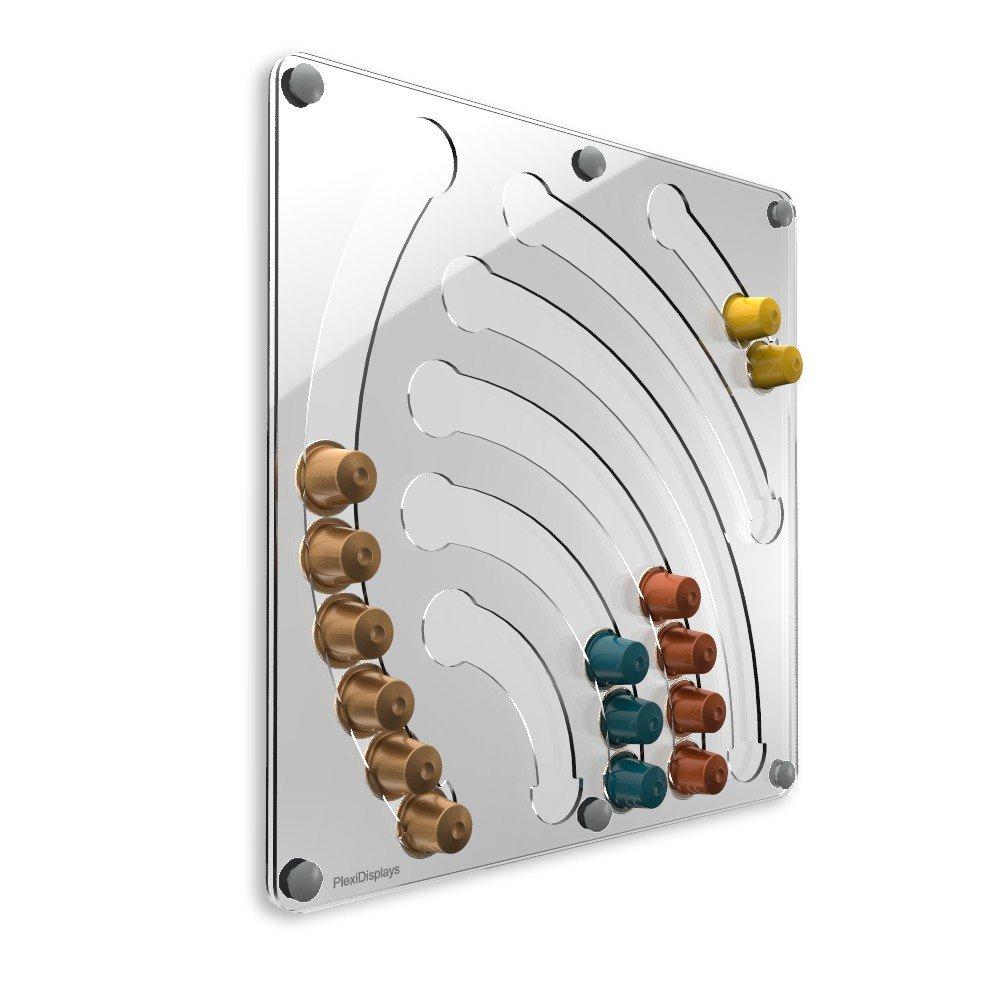 PlexiDisplays 143213 - Portacapsule Nespresso, design cascata, colore: Trasparente