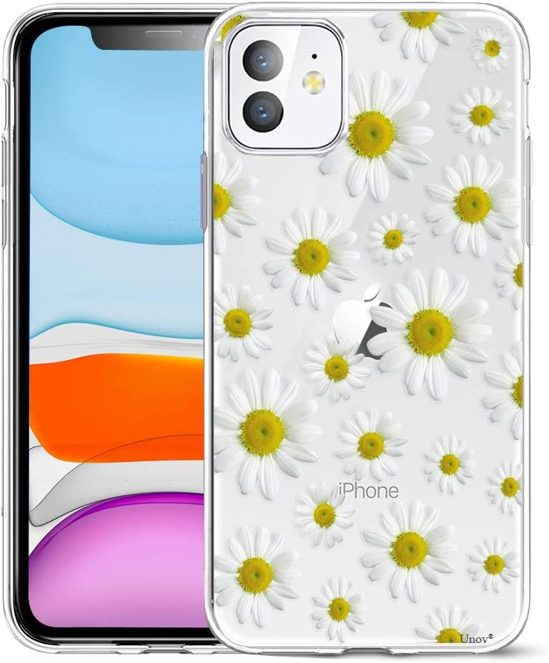 Unov Case Compatible with iPhone 11 Clear with Design Slim Protective Soft TPU Bumper Embossed Flower Pattern 6.1 Inch (White Daisy)
