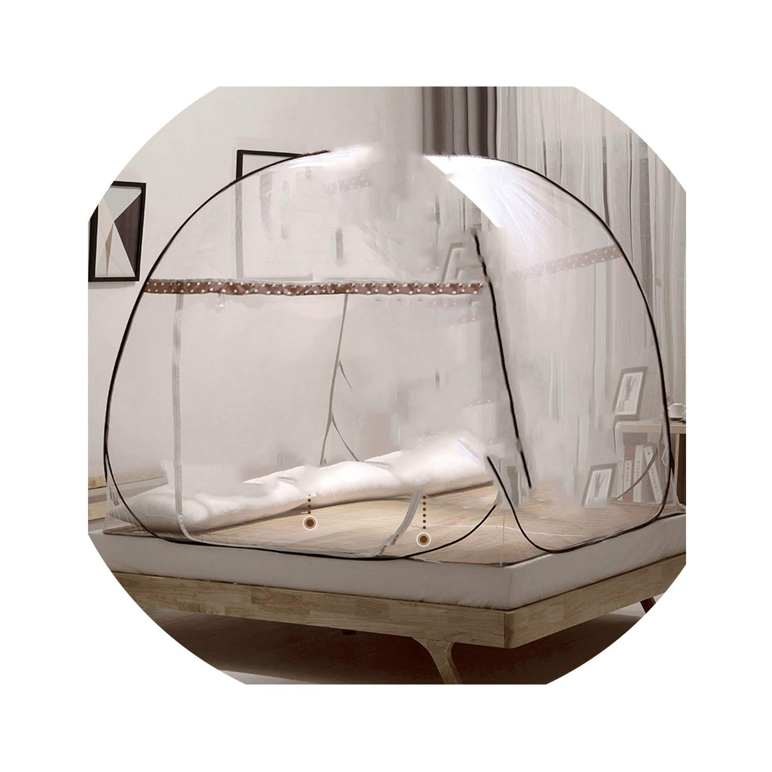 boom123 Portable Folding Mosquito Net Mongolian Yurt Insert Mesh Adult Bed Canopy Kids Moustiquaire Blue Foldable Tent Bed klamboe Nets,Brown xx Single-Door,1.8m (6 feet) Bed
