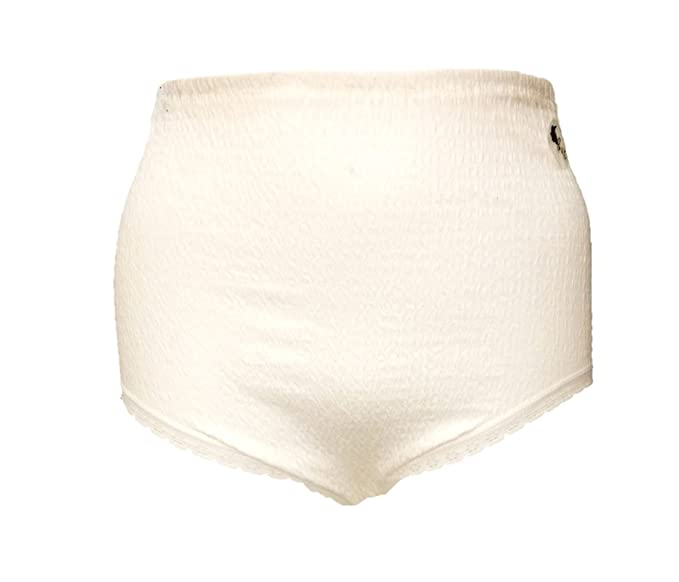 6 Pairs Lady Olga Womens Cotton Lycra Crinkle Full Brief With Tunnel Elastic White 12-